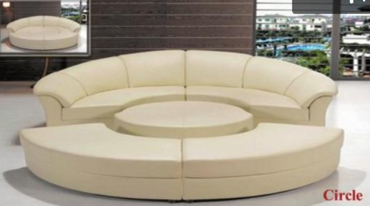 Divani Casa Circle – Modern Leather Circular Sectional 5 Piece In Circle Sofas (Image 9 of 20)