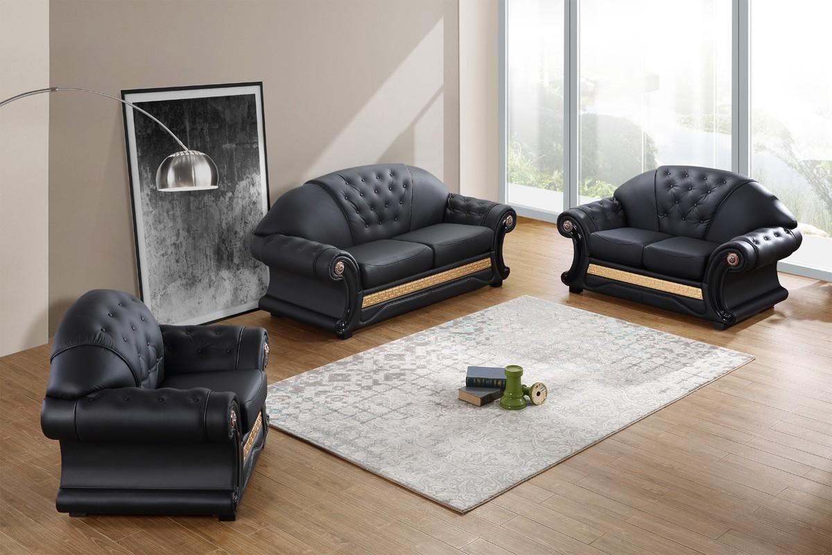 Divani Casa Cleopatra Traditional Black Leather Sofa Set In Cleopatra Sofas (Image 13 of 20)