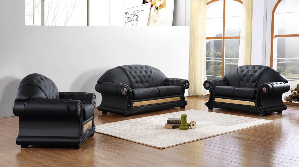 Divani Casa Cleopatra Traditional Black Leather Sofa Set With Cleopatra Sofas (Image 14 of 20)