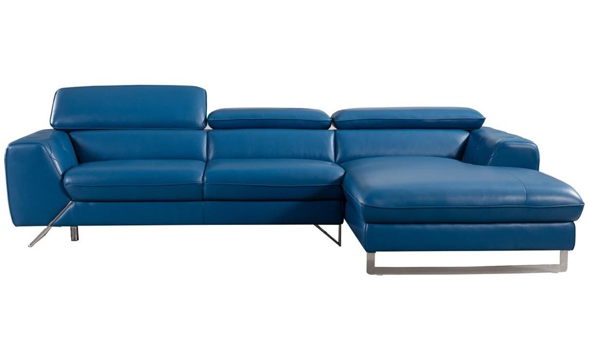 Divani Casa Devon Modern Leather Sectional Sofa In Blue | Free Intended For Blue Leather Sectional Sofas (Image 7 of 20)