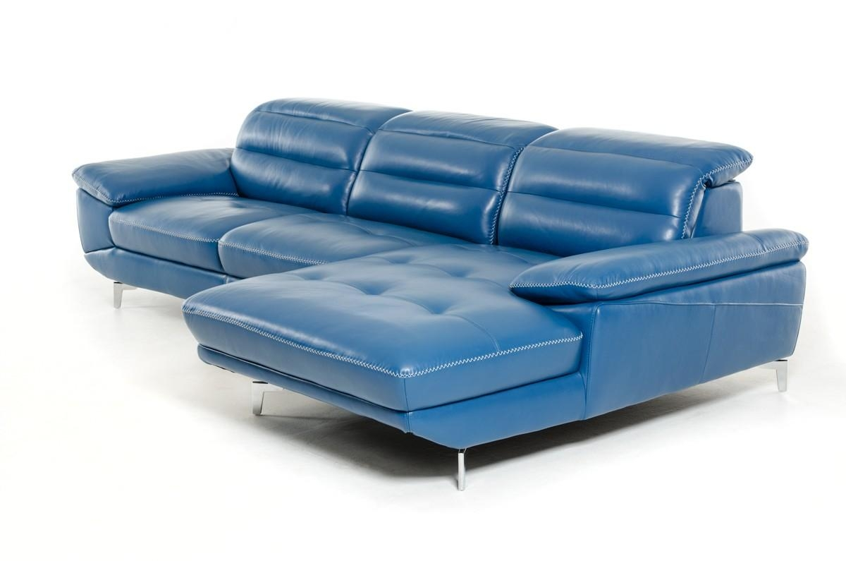 Divani Casa Hobart Modern Blue Leather Sectional Sofa In Blue Leather Sectional Sofas (View 9 of 20)