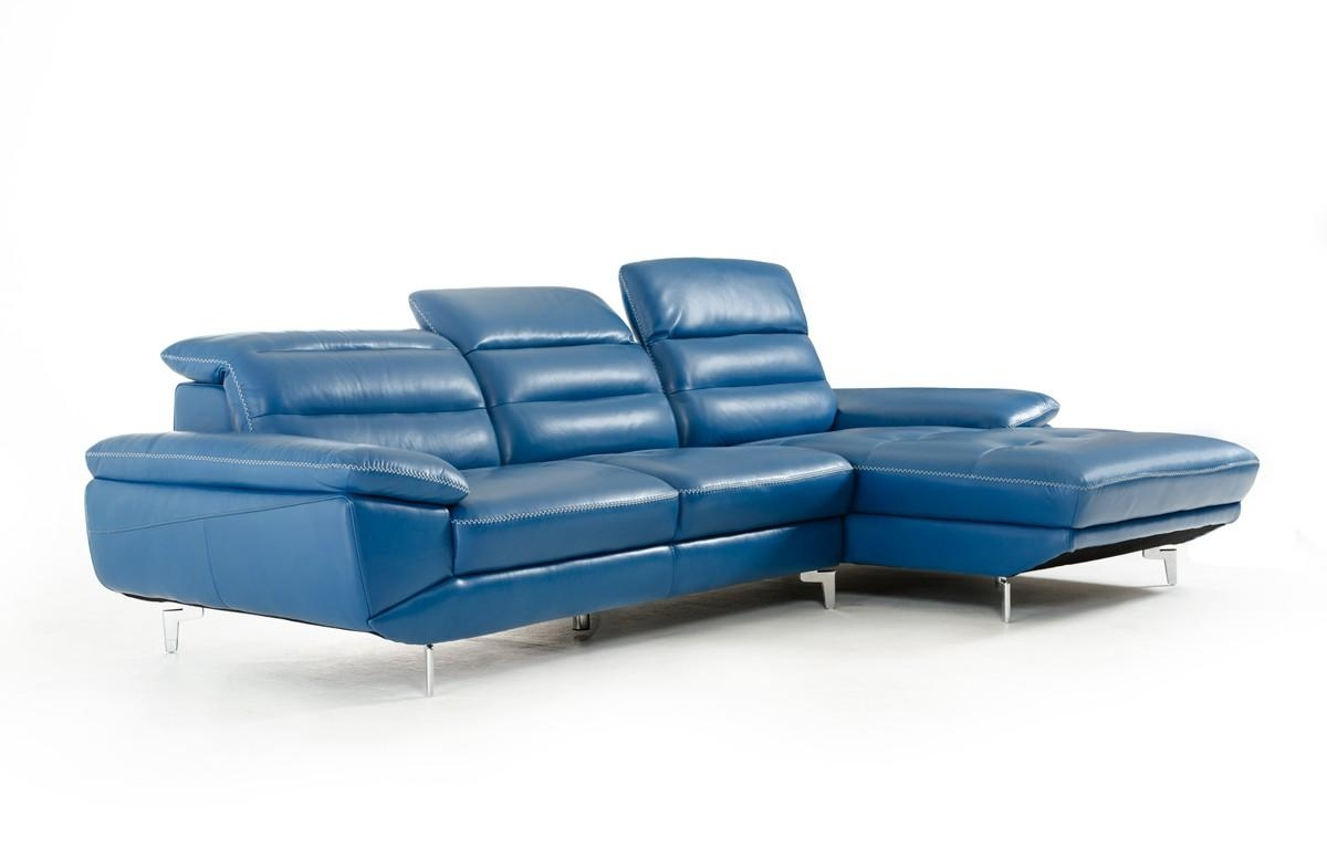 Divani Casa Hobart Modern Blue Leather Sectional Sofa In Blue Leather Sectional Sofas (View 5 of 20)