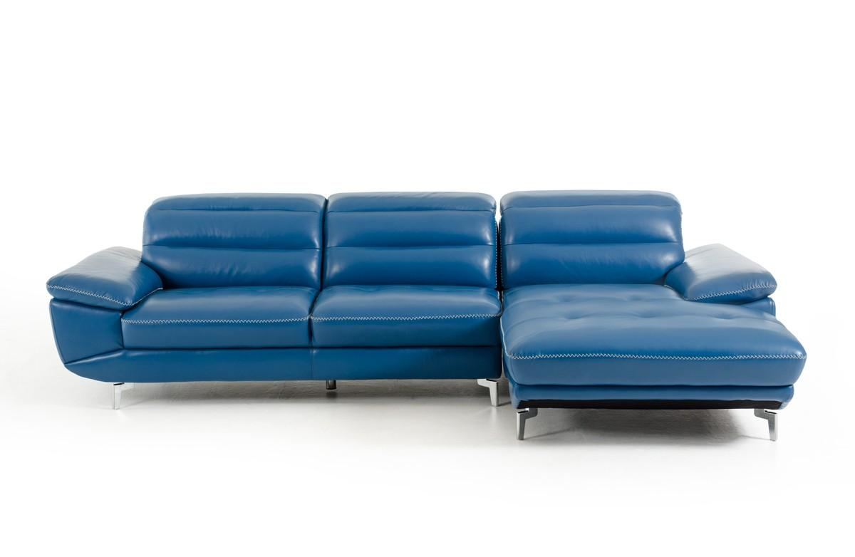 Divani Casa Hobart Modern Blue Leather Sectional Sofa Inside Blue Leather Sectional Sofas (View 2 of 20)
