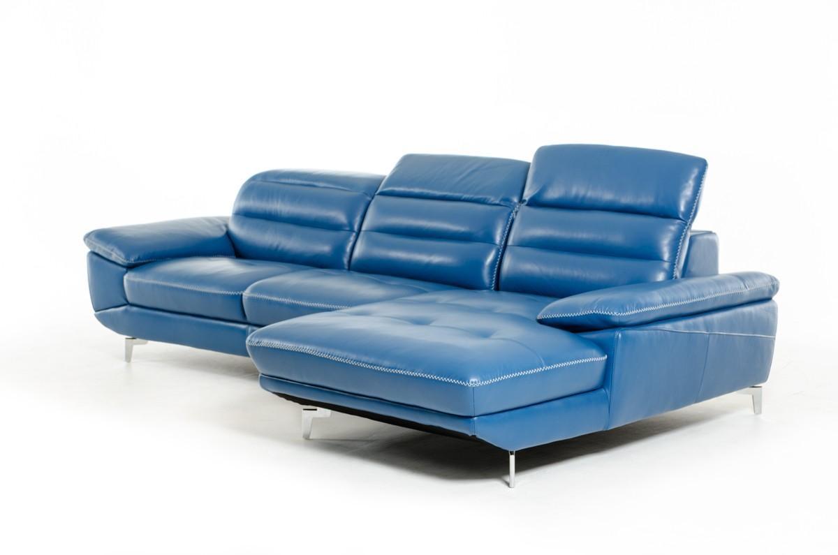 Divani Casa Hobart Modern Blue Leather Sectional Sofa Throughout Blue Leather Sectional Sofas (Image 12 of 20)