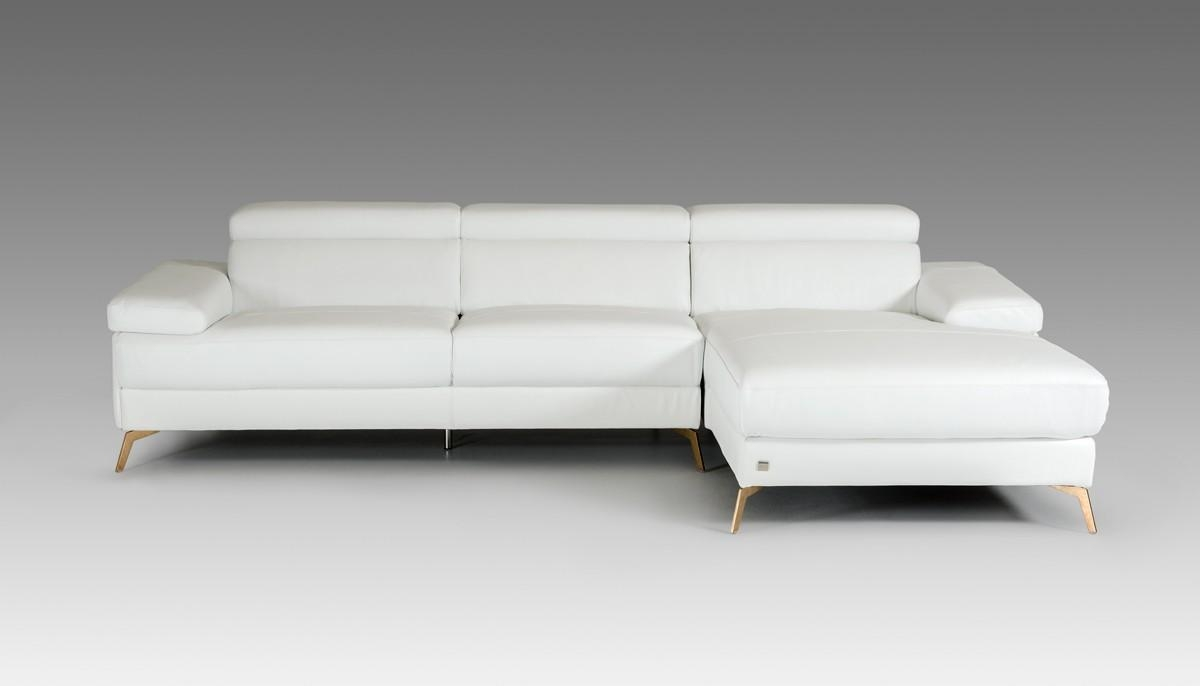 Divani Casa Kayla Modern White Italian Leather Sectional Sofa Inside Italian Leather Sectionals Contemporary (Image 6 of 20)