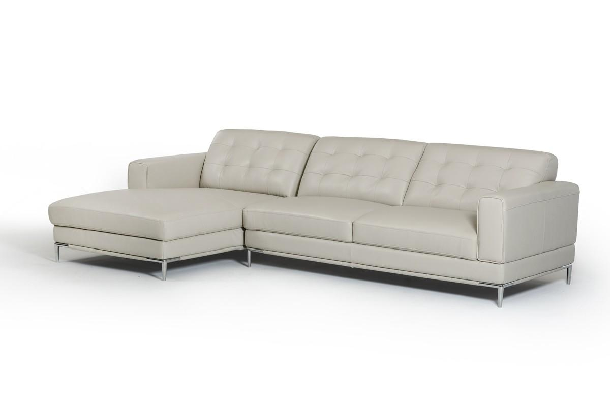 Divani Casa Larkspur Mid Century Light Grey Leather Sectional Sofa Inside Mid Century Modern Leather Sectional (Image 2 of 20)
