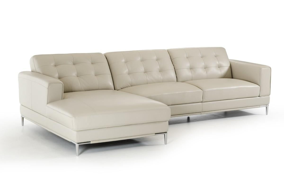 Divani Casa Larkspur Mid Century Light Grey Leather Sectional Sofa Pertaining To Mid Century Modern Leather Sectional (Image 3 of 20)