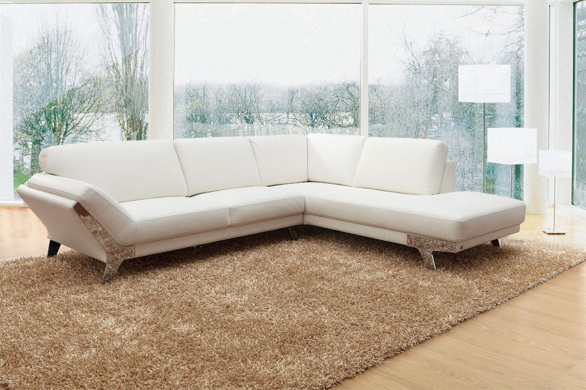 Divani Casa Lidia – Modern White Italian Leather Sectional Sofa Inside Italian Leather Sectionals Contemporary (Image 7 of 20)