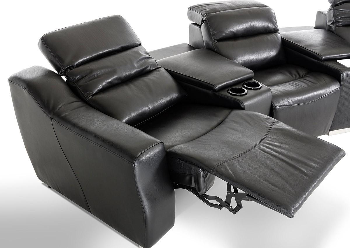 Divani Casa Salem Modern Black Eco Leather Recliner Sectional Sofa Inside Modern Reclining Sectional (Image 6 of 20)