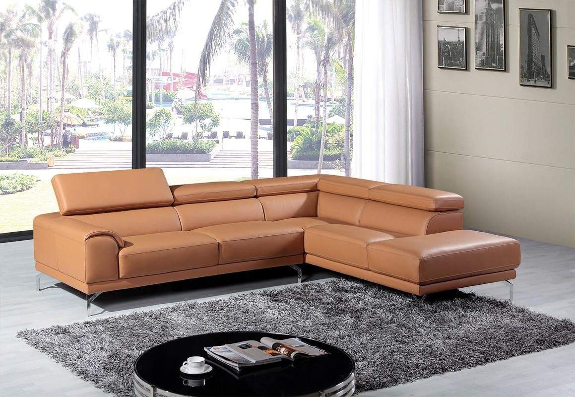 Divani Casa Wisteria Modern Camel Leather Sectional Sofa W/ Right Inside Camel Sectional Sofa (Image 11 of 15)