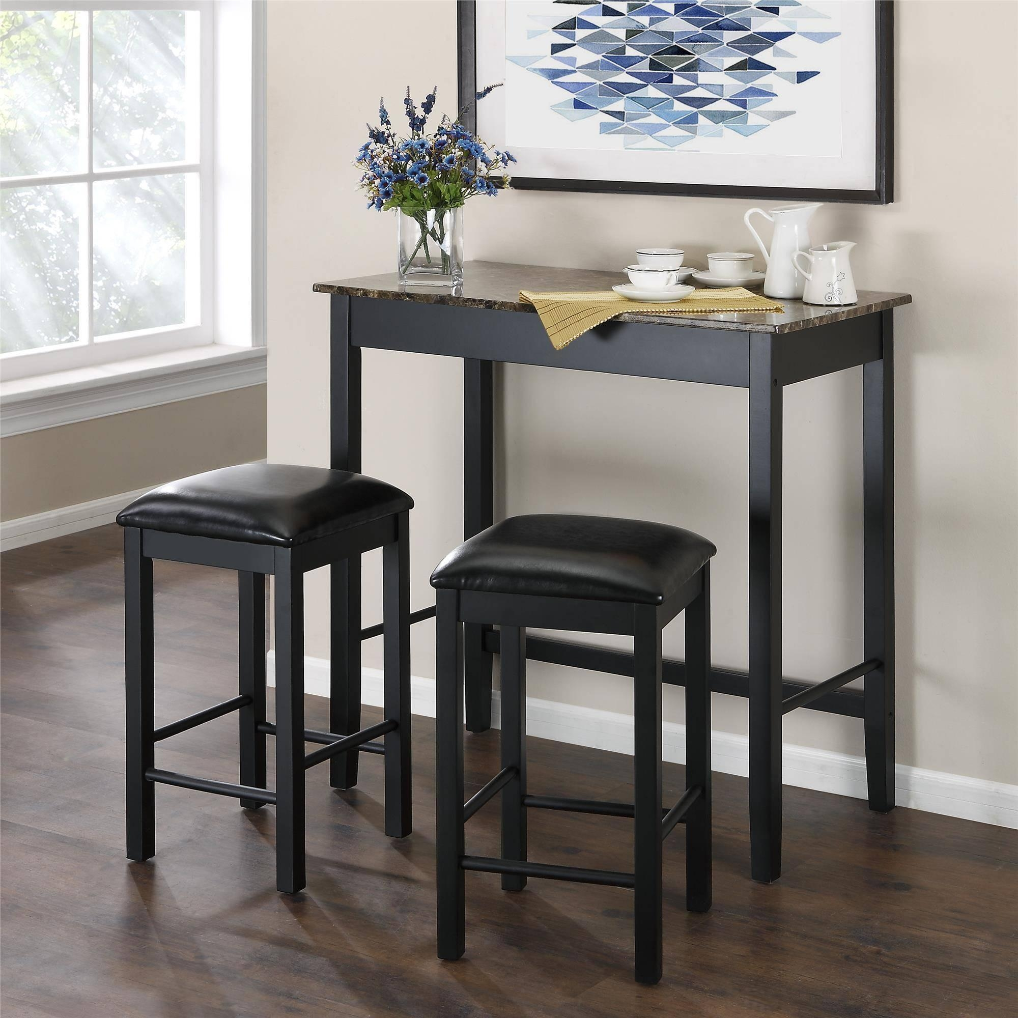 Dorel Living Devyn 3 Piece Faux Marble Pub Dining Set, Black Intended For Sofa Table With Chairs (View 11 of 20)