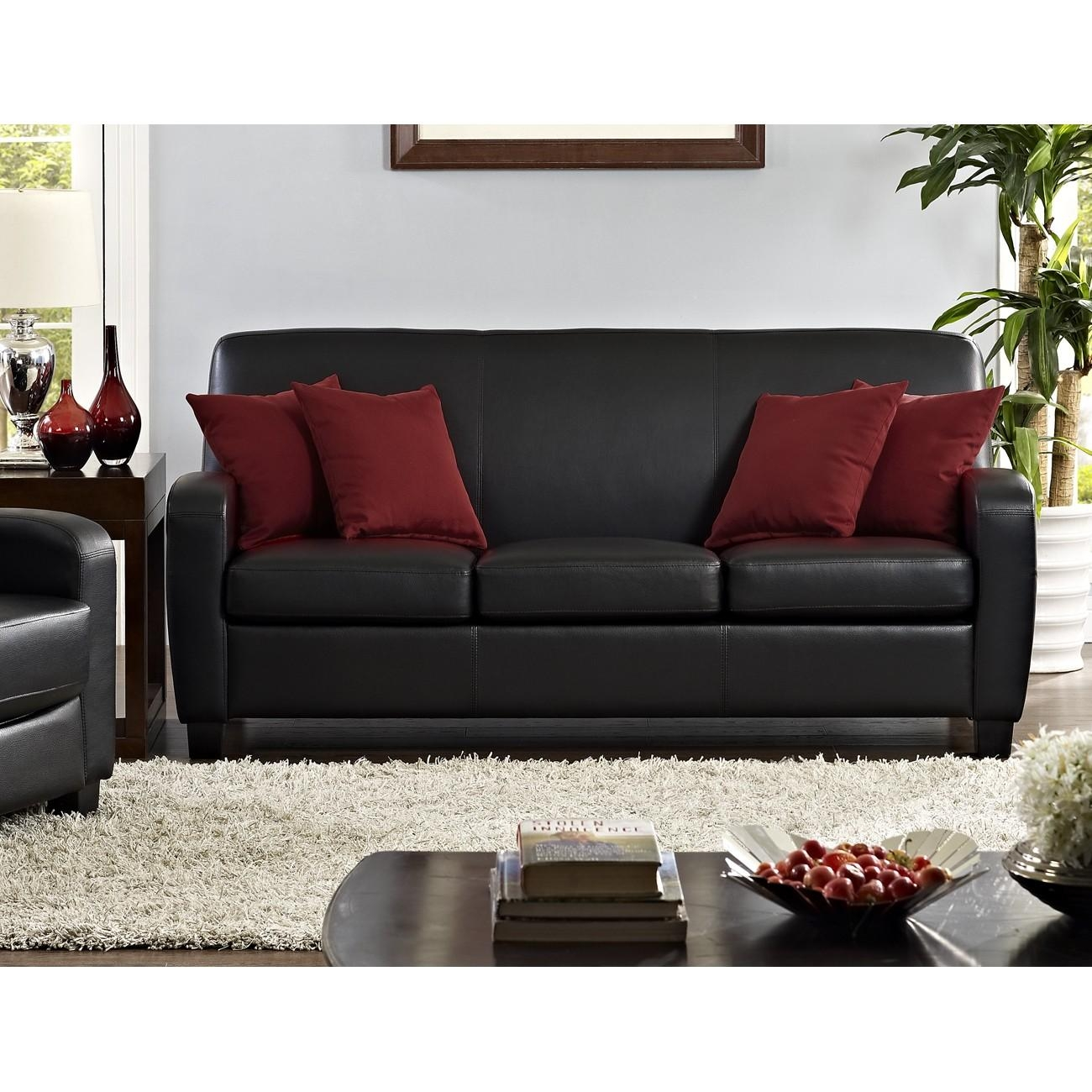 Dorel Living | Mainstays Faux Leather Sofa, Black With Regard To Mainstay Sofas (Image 1 of 20)