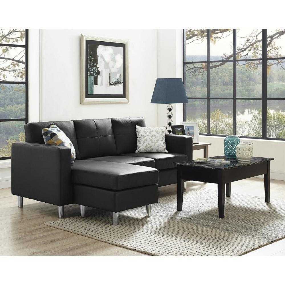 Dorel Small Spaces 2 Piece Configurable Black Sectional Sofa Within Small 2 Piece Sectional (Image 6 of 20)