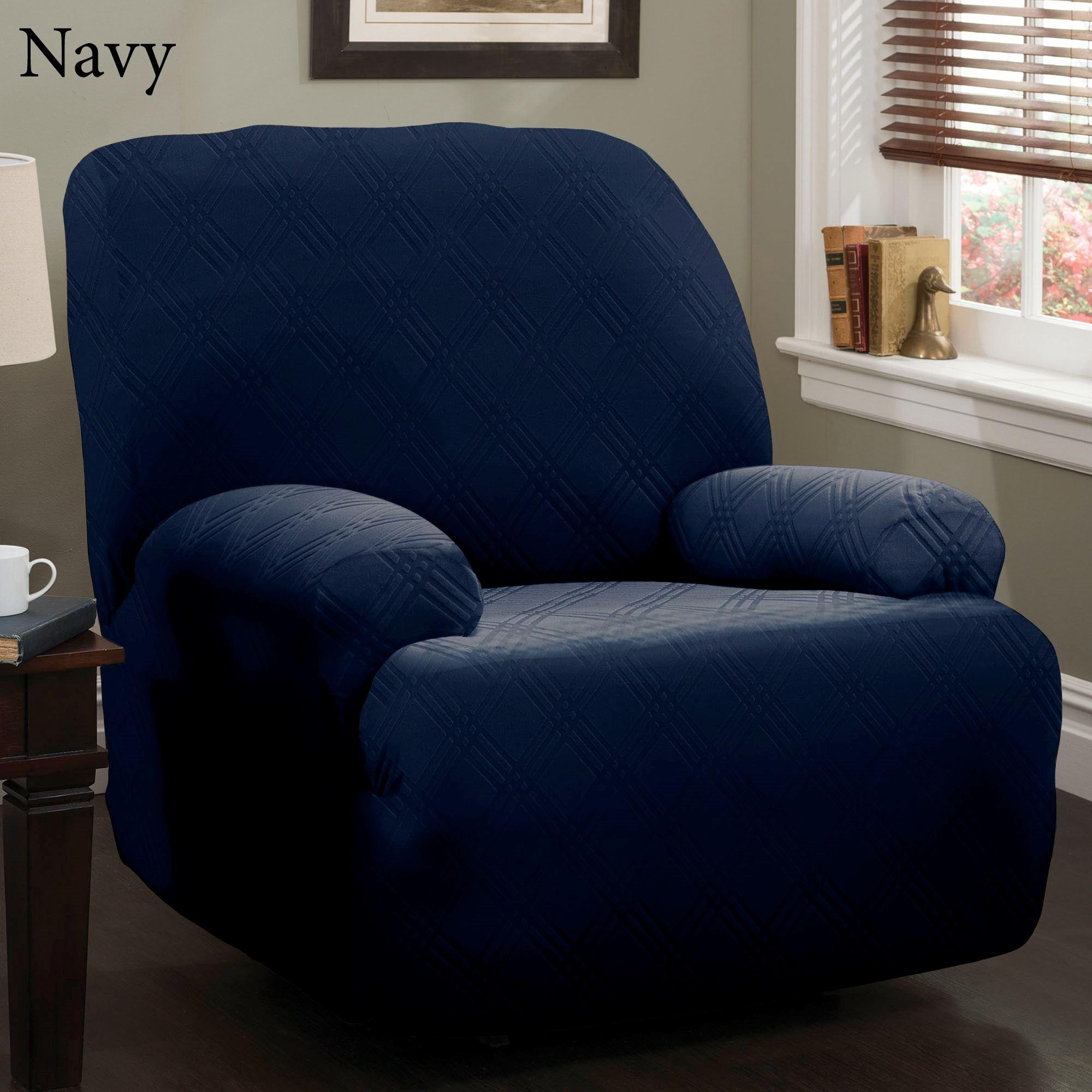 Double Diamond Stretch Jumbo Recliner Slipcovers Throughout Navy Blue Slipcovers (Image 2 of 20)