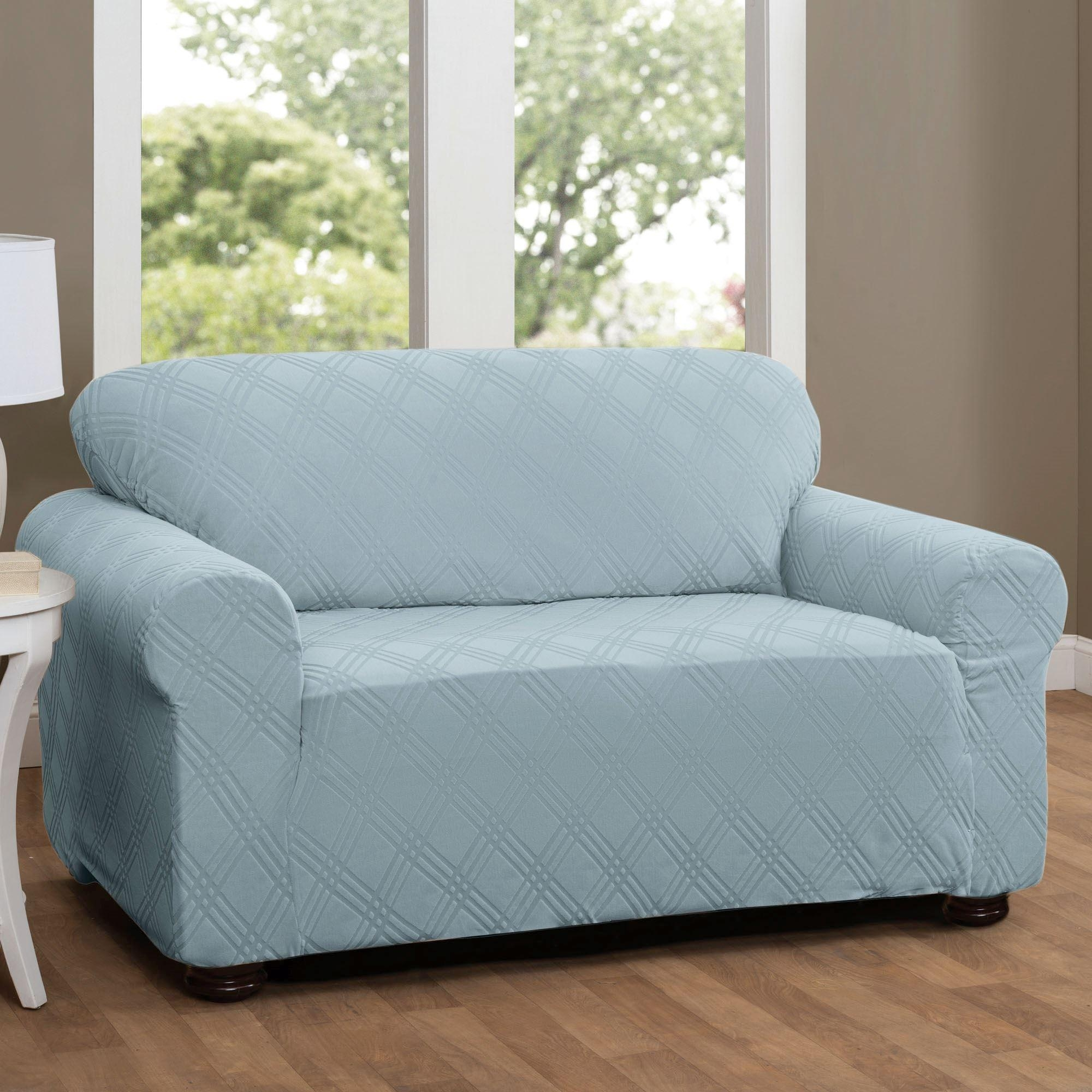 Double Diamond Stretch Loveseat Slipcovers In Stretch Slipcovers For Sofas (Image 3 of 20)