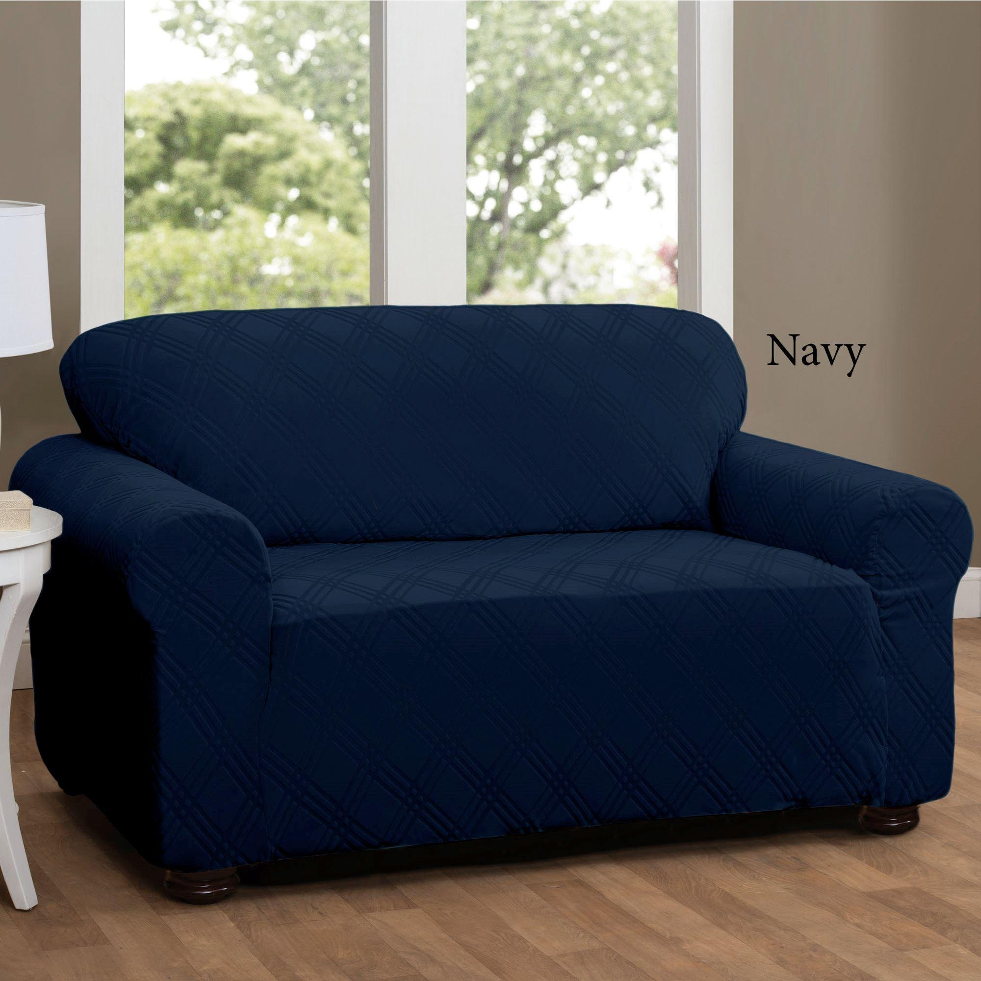 Double Diamond Stretch Loveseat Slipcovers With Regard To Navy Blue Slipcovers (Image 3 of 20)