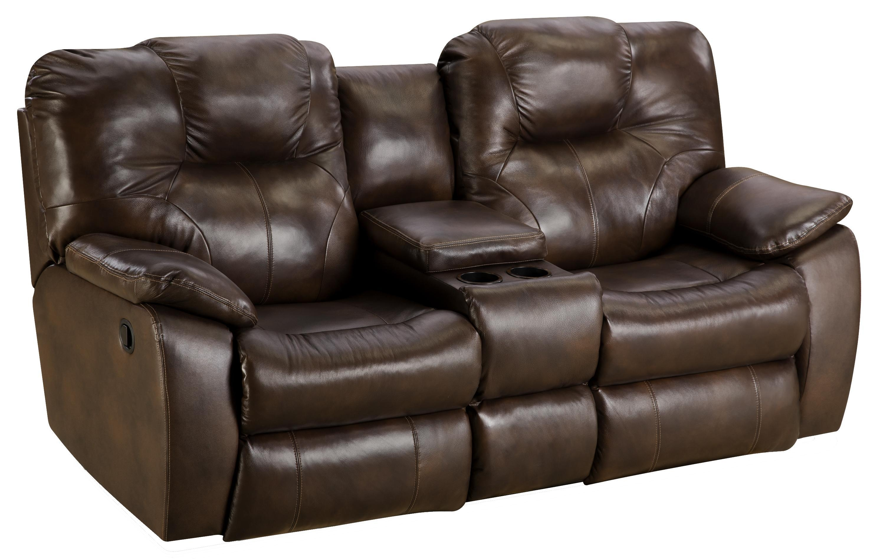 Double Recliner Sofa With Console Leather Cleaner Steam Clean Pertaining To Sofas With Console (Image 3 of 20)