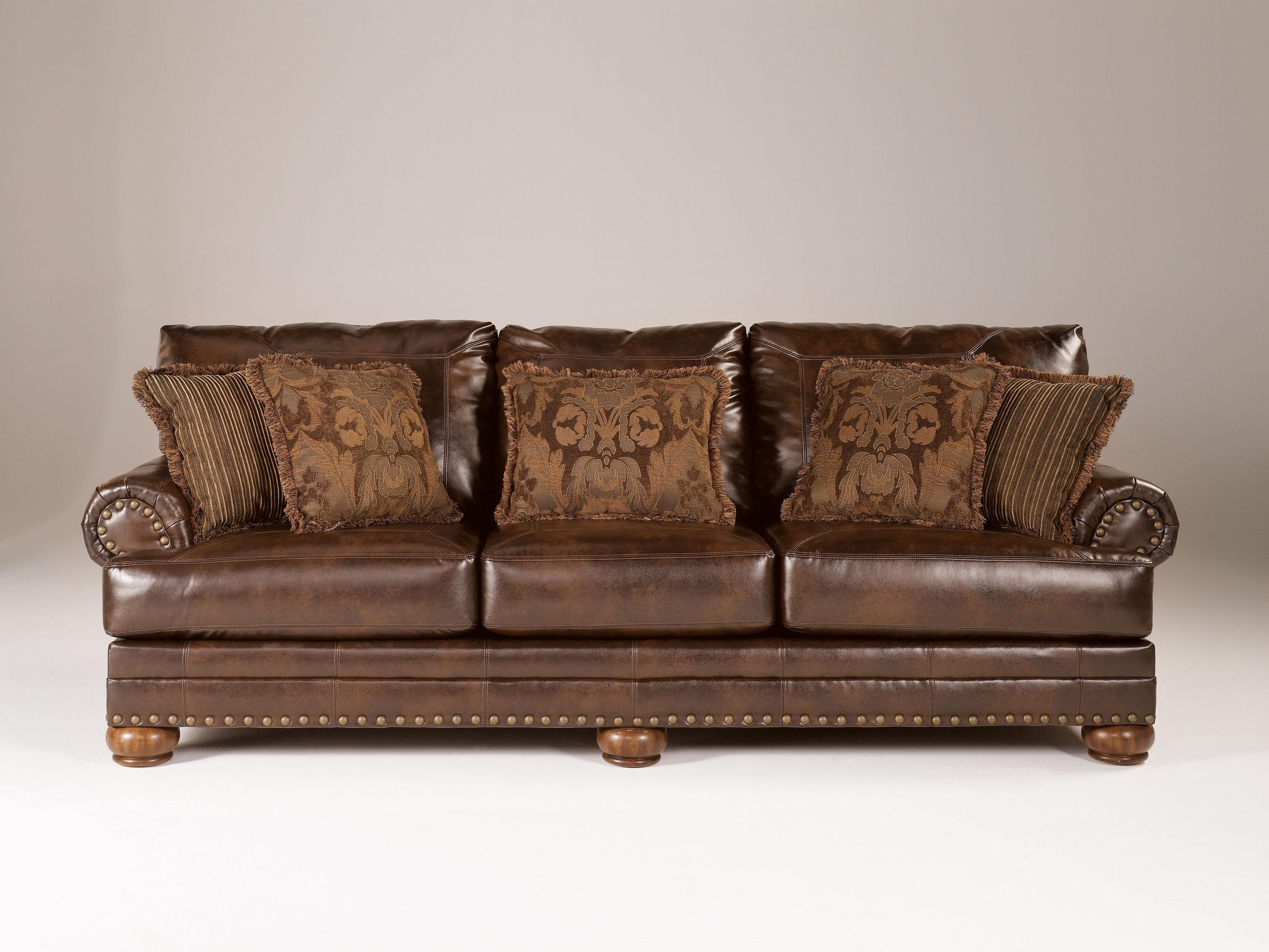 Durablend Traditional Antique Leather Sofa W/cushion Back | Living In Antique Sofa Chairs (Image 10 of 20)