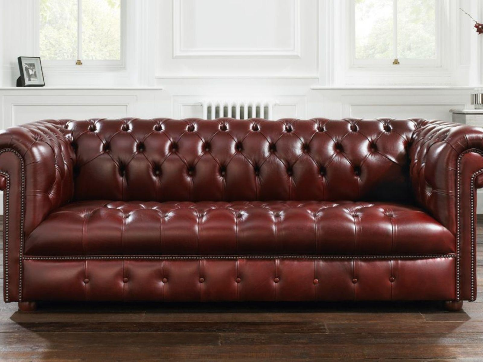 ▻ Sofa : 3 Living Room Focus On Luxury Red Leather Chesterfield Intended For Dark Red Leather Sofas (Image 1 of 20)