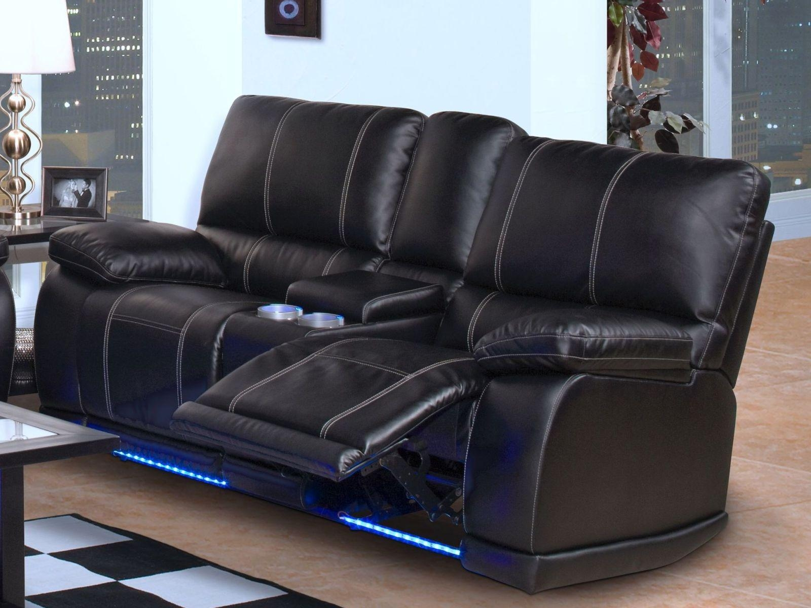 ▻ Sofa : 39 Black Bonded Leather Reclining Sofa Console Storage Pertaining To Sofas With Cup Holders (Image 1 of 20)