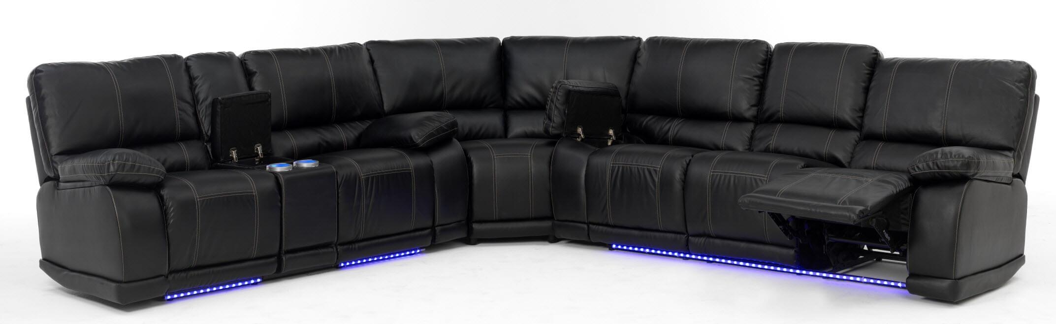 Electra Power Reclining Sectional With Led Lights With Regard To Leather Motion Sectional Sofa (View 18 of 20)