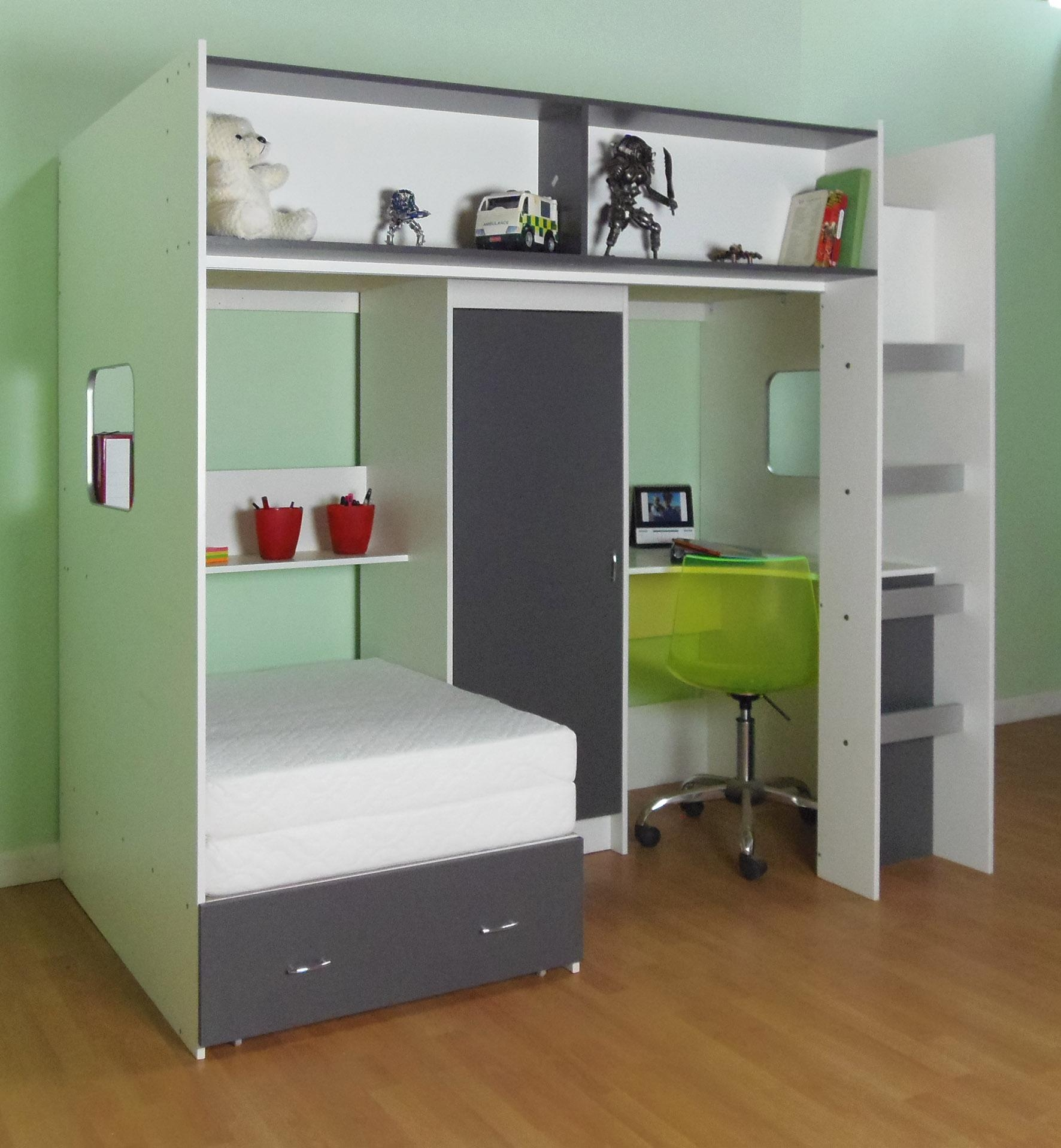 Elegant Green Bedroom Decor With Custom High Beds With Trundle Within High Sleeper With Sofa And Desk (Image 4 of 20)