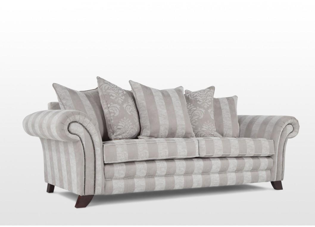 Elegant Grey & White Striped Four Seater Sofa – Clifden For Striped Sofas And Chairs (View 11 of 20)