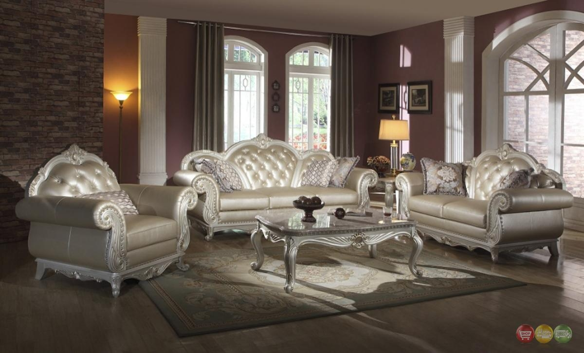 Elegant Metallic Pearl Button Tufted Leather Formal Living Room In Elegant Sofas And Chairs (View 2 of 20)