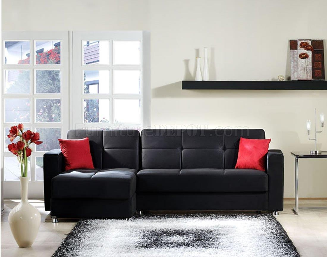Elegant Rainbow Storage Sectional Sofa In Blacksunset Within Black Microfiber Sectional Sofas (View 19 of 20)