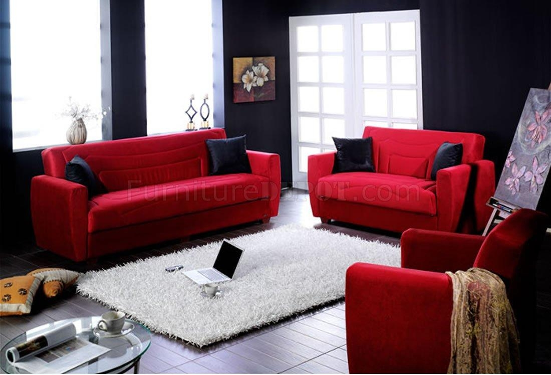 Elegant Red Microfiber Living Room With Storage Sleeper Sofa In Red Sleeper Sofa (Image 3 of 20)
