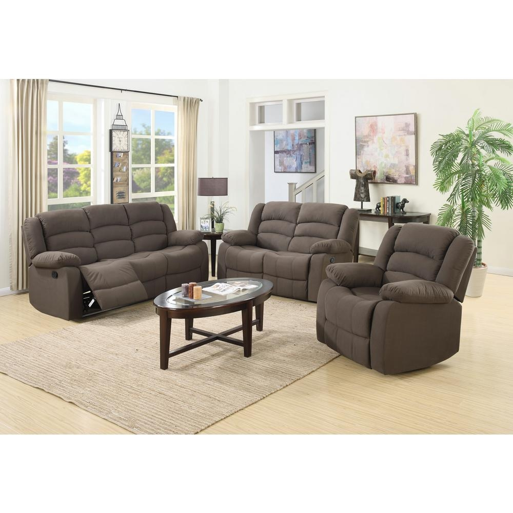 Ellis Contemporary Microfiber 3 Piece Living Room Set, Brown S6021 Within Sofa Loveseat And Chair Set (View 12 of 20)
