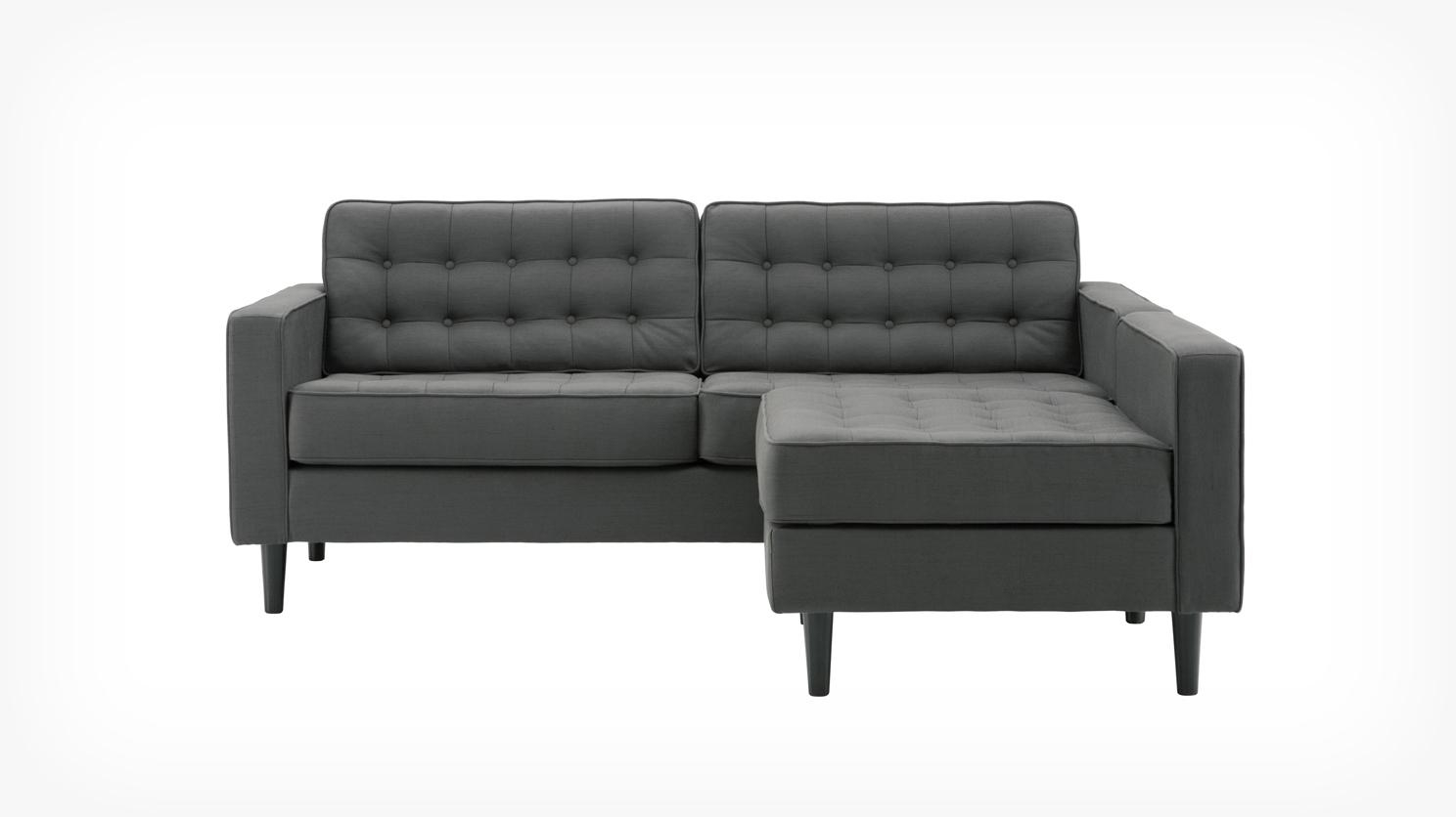 Eq3 | Reverie Apartment 2 Piece Sectional Sofa With Chaise – Fabric For Apartment Sofa Sectional (Image 8 of 15)