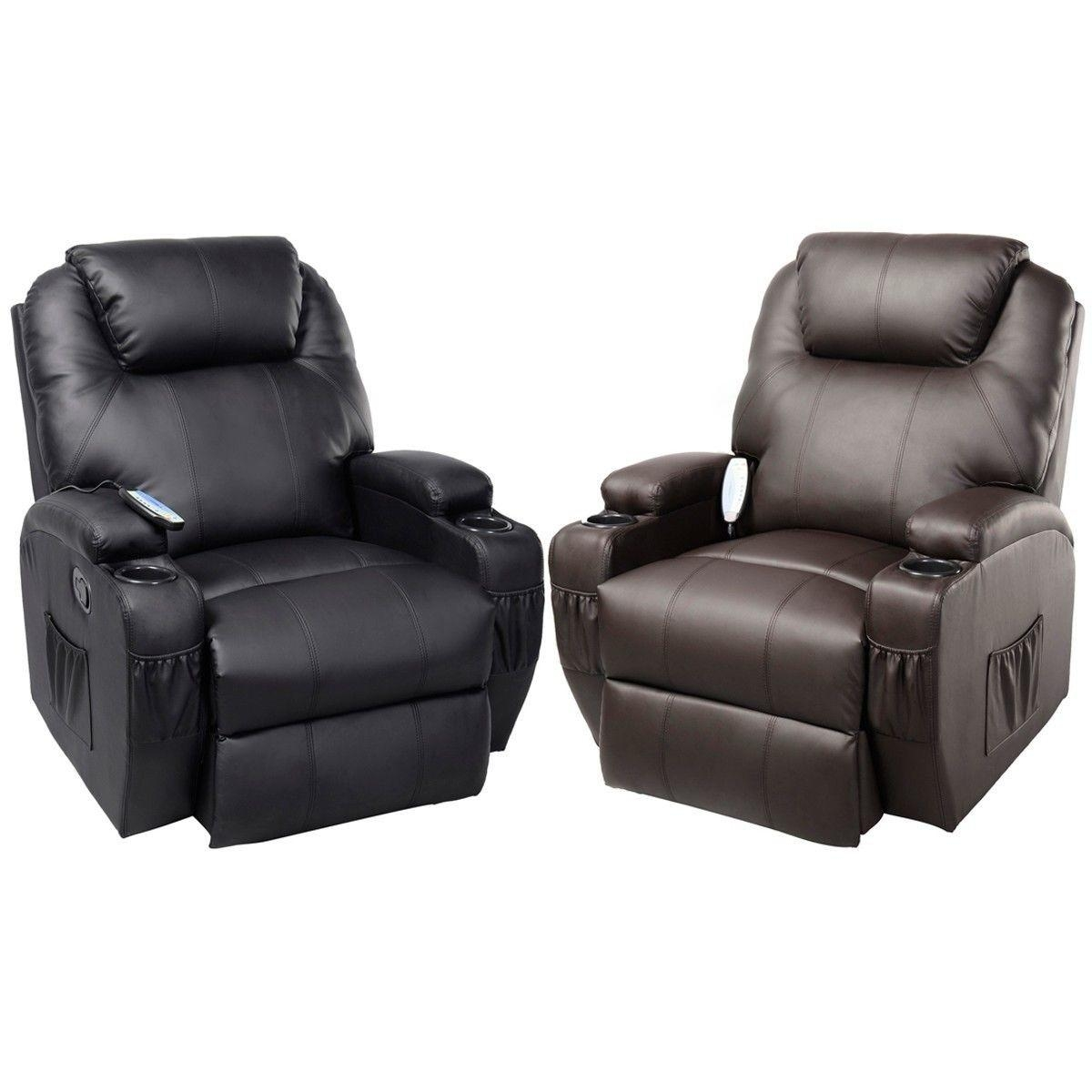 Ergonomic Heated Massage Recliner Sofa Chair Deluxe Lounge Inside Recliner Sofa Chairs (Image 10 of 20)
