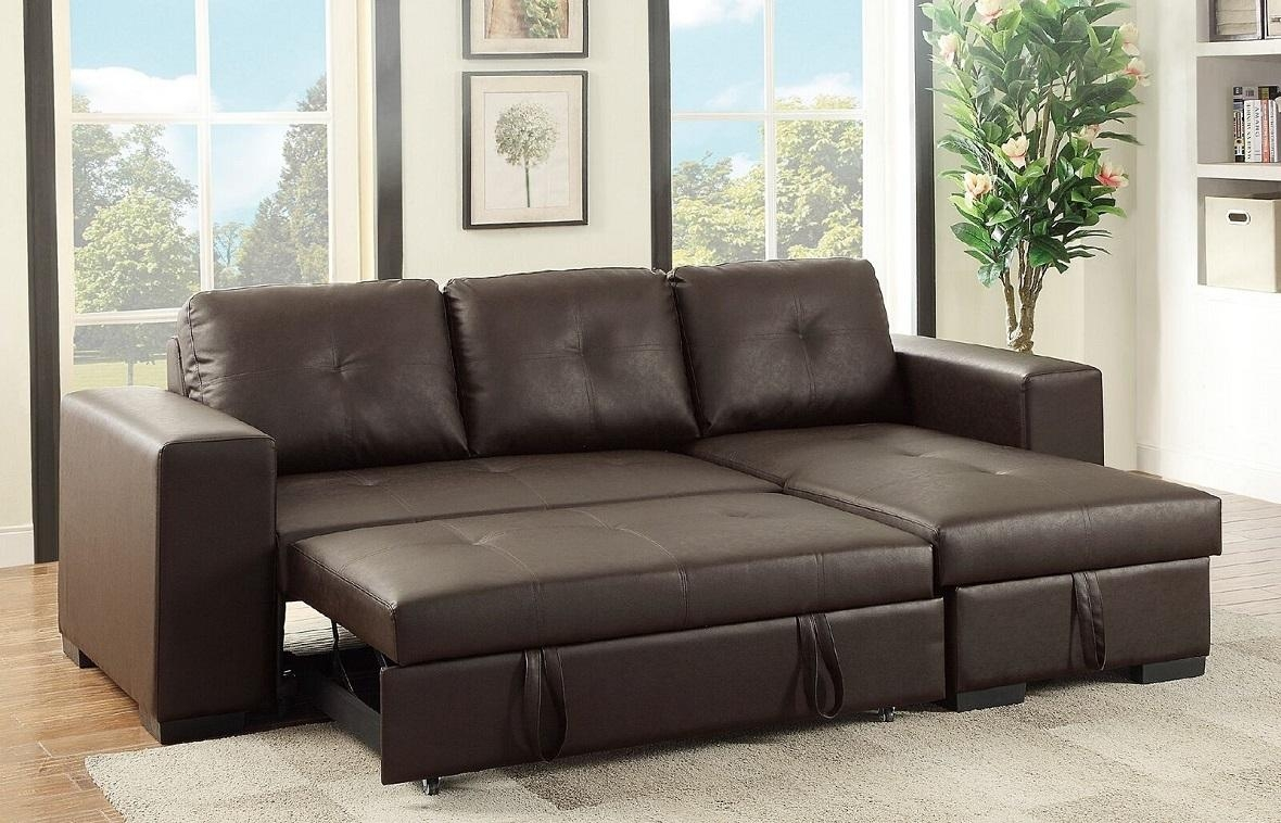 Espresso Faux Leather Sectional Set Pull Out Bed Sofa Chaise Throughout Pull Out Sectional (Image 10 of 20)