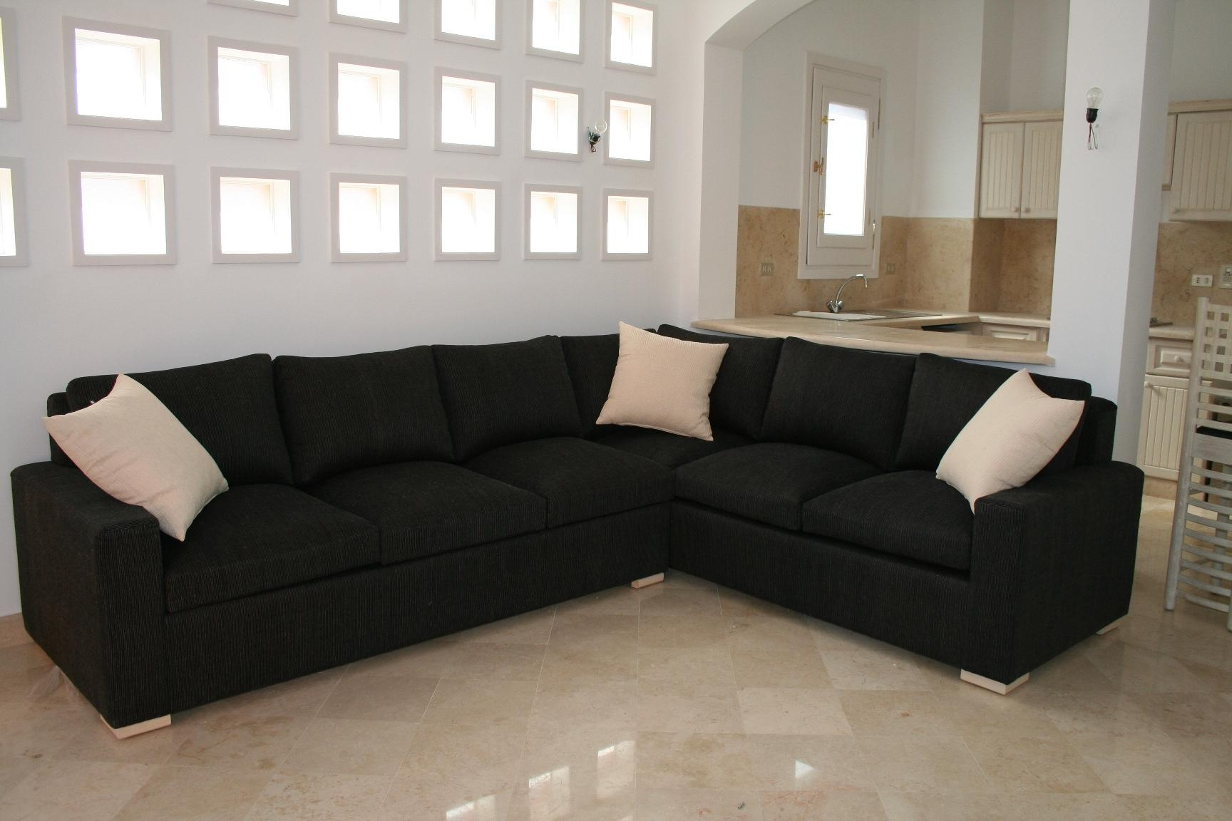 Espresso L Shaped Fabric Tufted Sectional Sofa Design Ideas Come Regarding Black Fabric Sectional (Image 9 of 15)