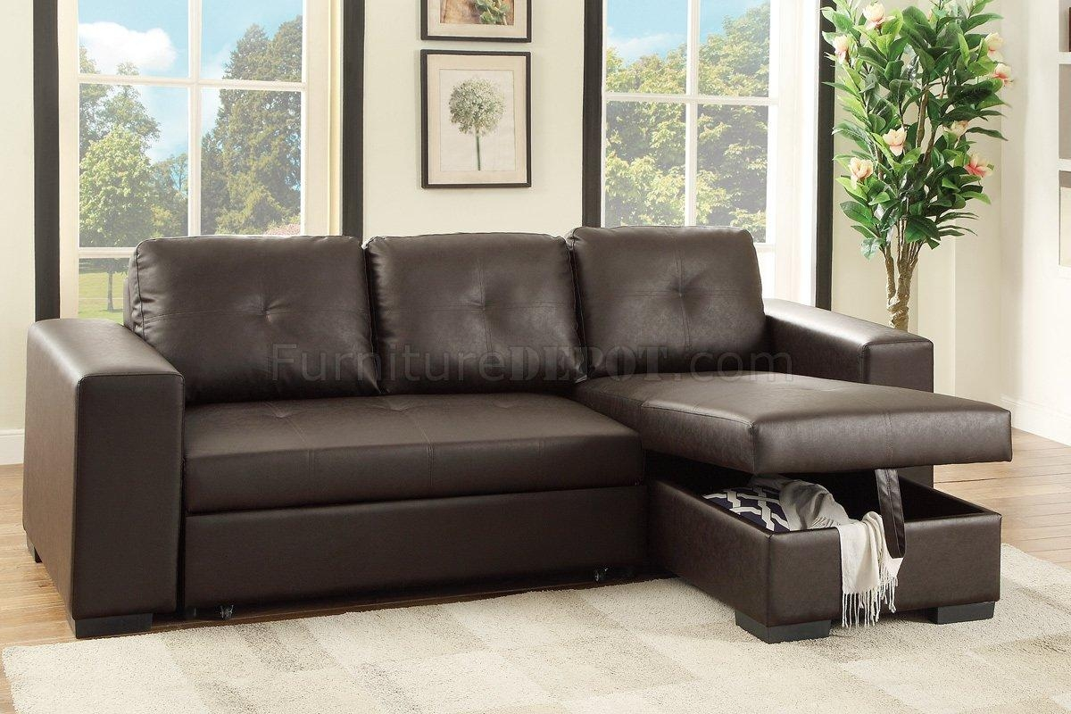 F6930 Convertible Sectional Sofa Espresso Faux Leatherboss With Regard To Convertible Sectional (Image 2 of 15)