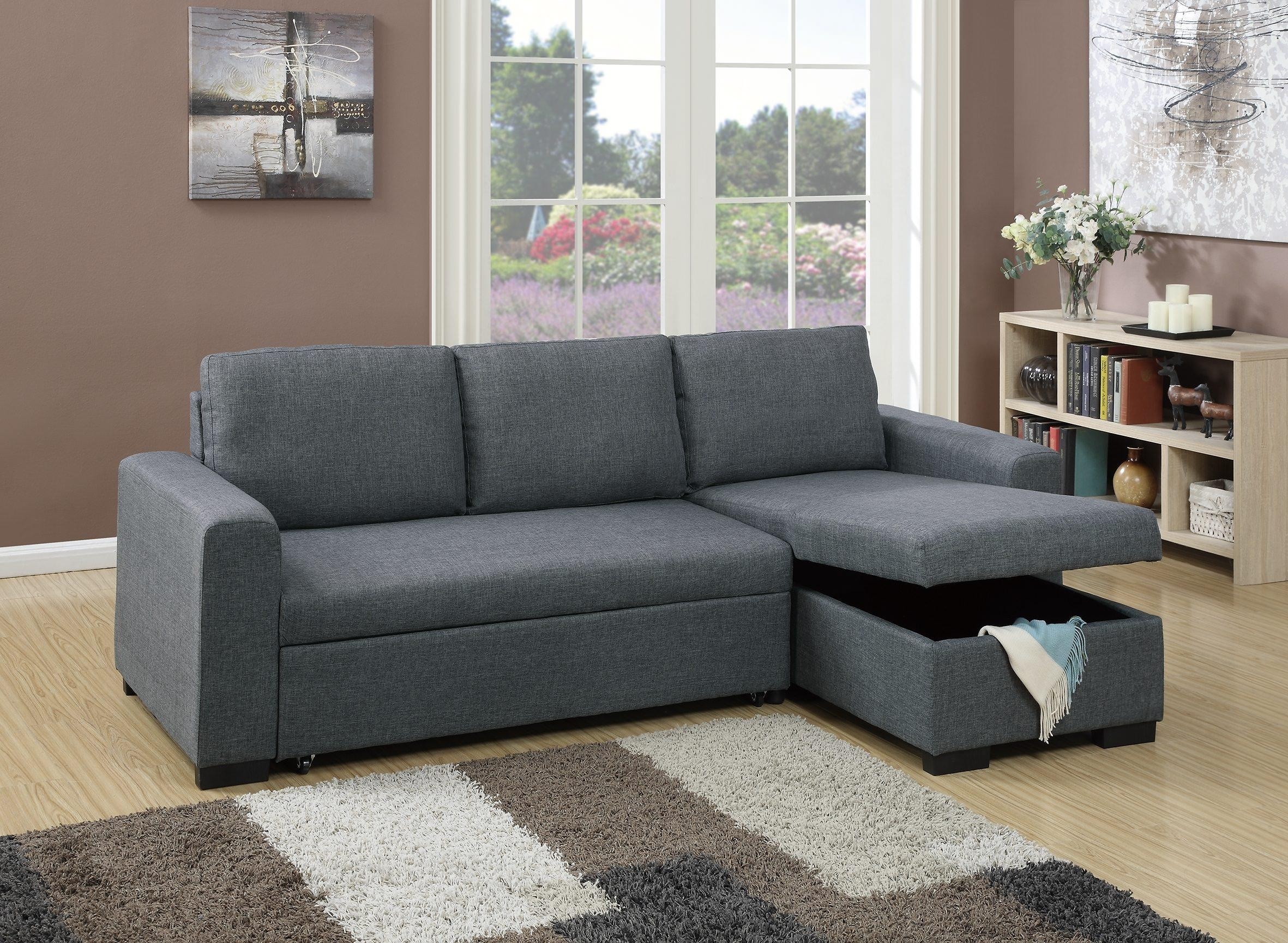 F6931 Blue Gray Convertible Sectional Sofapoundex In Convertible Sectional Sofas (View 5 of 15)