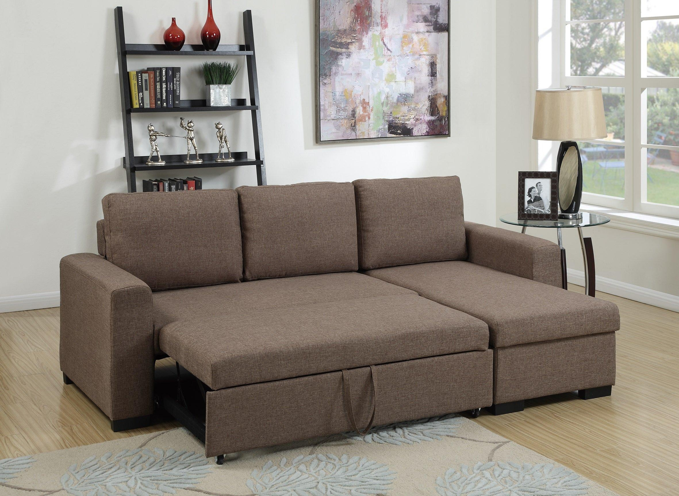 F6932 Light Coffee Convertible Sectional Sofapoundex Intended For Convertible Sectional Sofas (View 4 of 15)