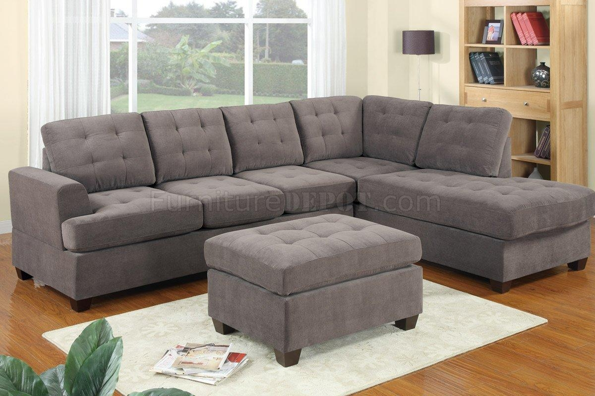 F7137 Waffle Suede Tufted Sectional Sofapoundex Within Tufted Sectional With Chaise (Image 2 of 20)