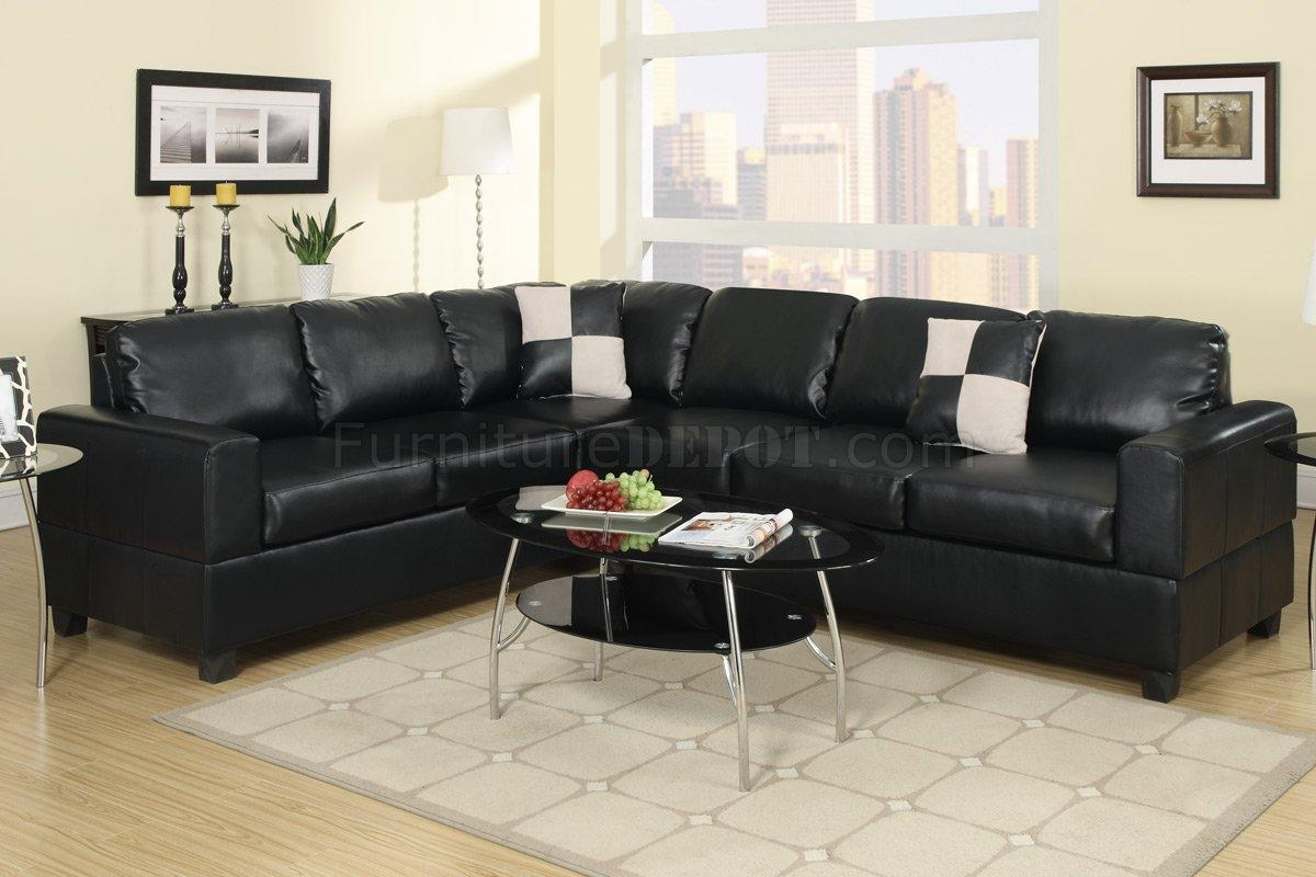F7630 Sectional Sofa In Black Faux Leatherpoundex For Faux Leather Sectional Sofas (View 6 of 15)