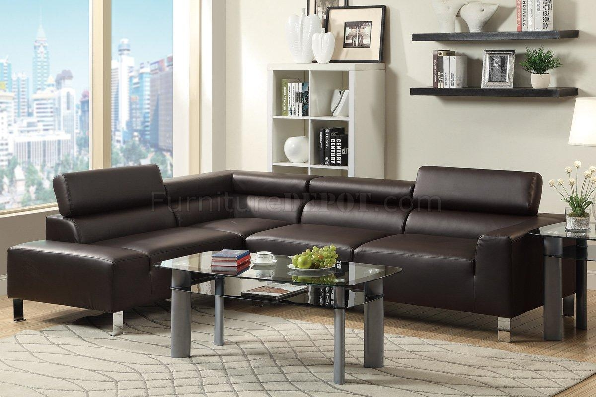F7630 Sectional Sofa In Black Faux Leatherpoundex For Poundex Sofas (View 6 of 20)
