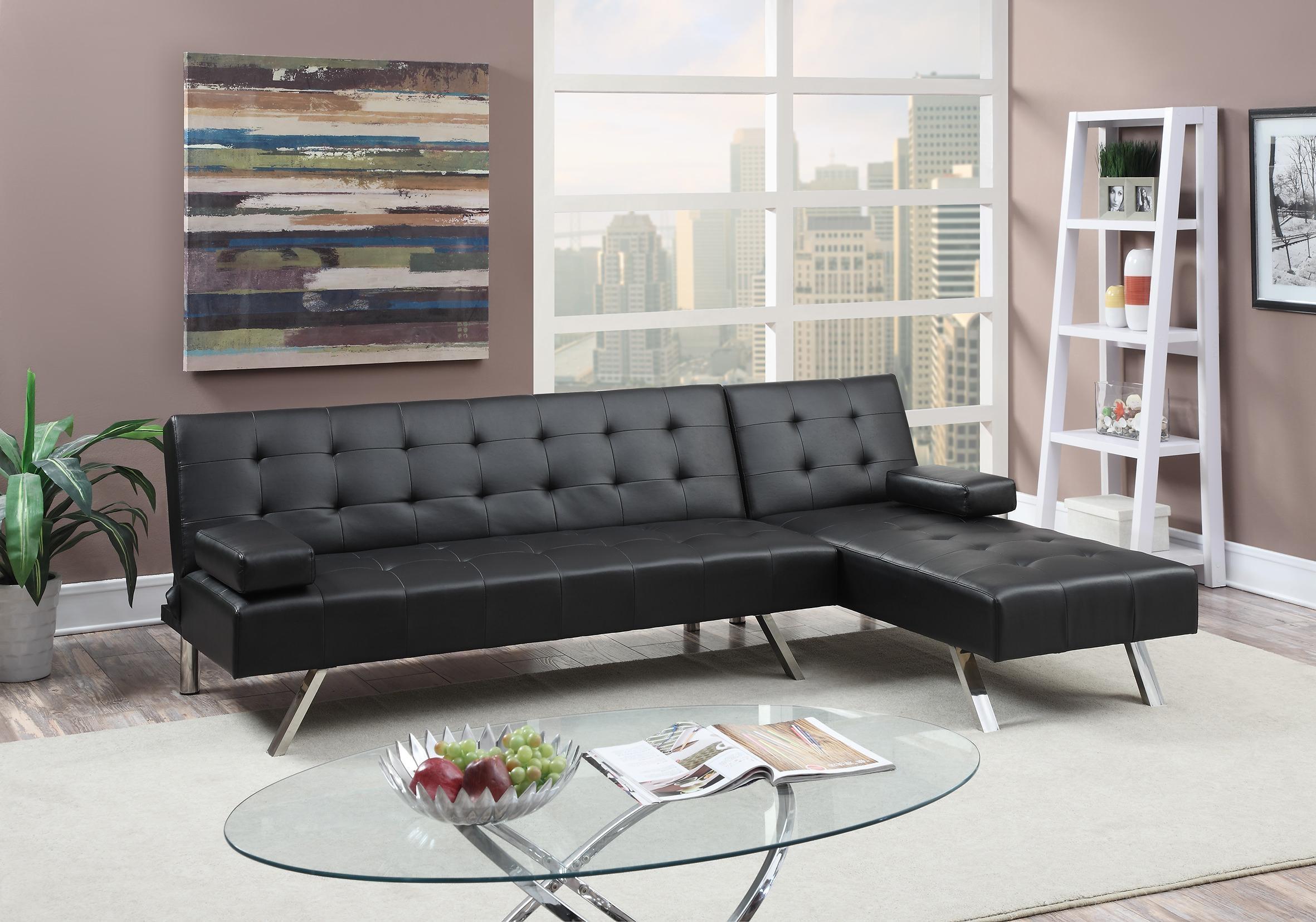 F7886 Black 2 Pcs Convertible Sectional Sofa Setpoundex With Convertible Sectional (View 9 of 15)