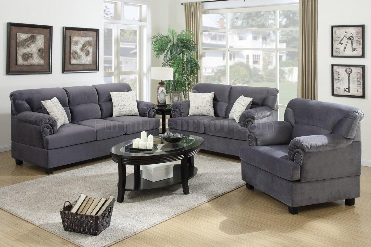 F7915 Sofa, Loveseat & Chair Set In Chocolate Fabricpoundex With Regard To Sofa And Chair Set (View 7 of 20)