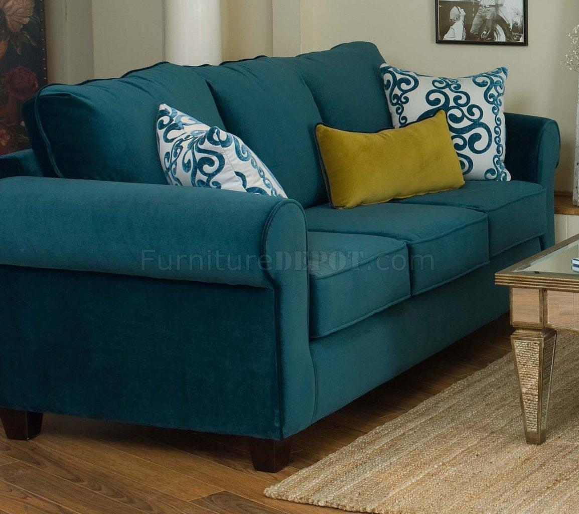 Fabric Living Room Blue Sofa & Golden Green Chair Set Intended For Casual Sofas And Chairs (Image 14 of 21)