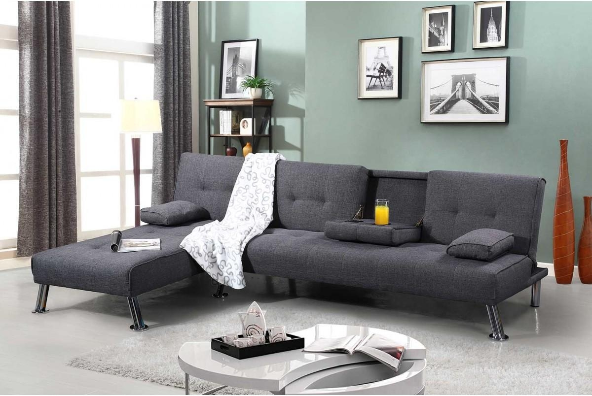 Fabric Upholstered Fold Down Chaise Longue Sofa Bed Green Grey For Chaise Longue Sofa Beds (Image 8 of 20)