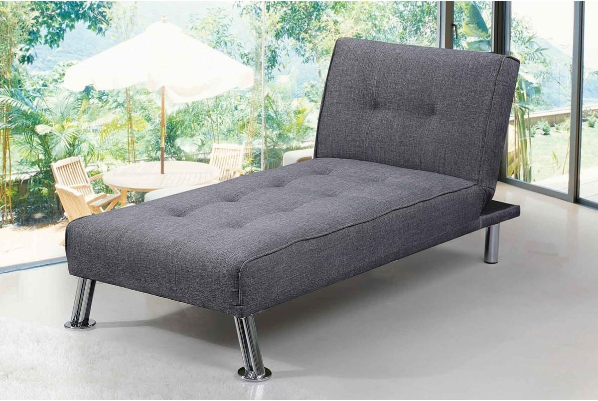Fabric Upholstered Fold Down Chaise Longue Sofa Bed Green Grey In Chaise Longue Sofa Beds (View 4 of 20)
