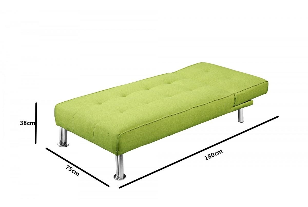 Fabric Upholstered Fold Down Chaise Longue Sofa Bed Green Grey Throughout Chaise Longue Sofa Beds (View 8 of 20)