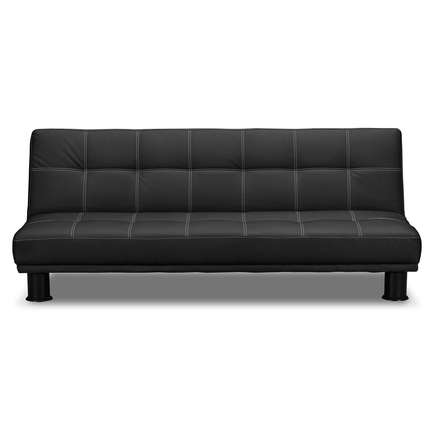 Fabulous Black Leather Futon Sofa Bed Futons Living Room Seating Inside City Sofa Beds (Image 7 of 20)
