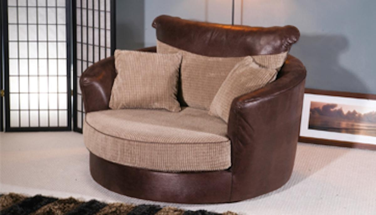 Fancy Round Swivel Sofa Chair And Oversized Large Cuddle Chairs Within Snuggle Sofas (Image 7 of 20)