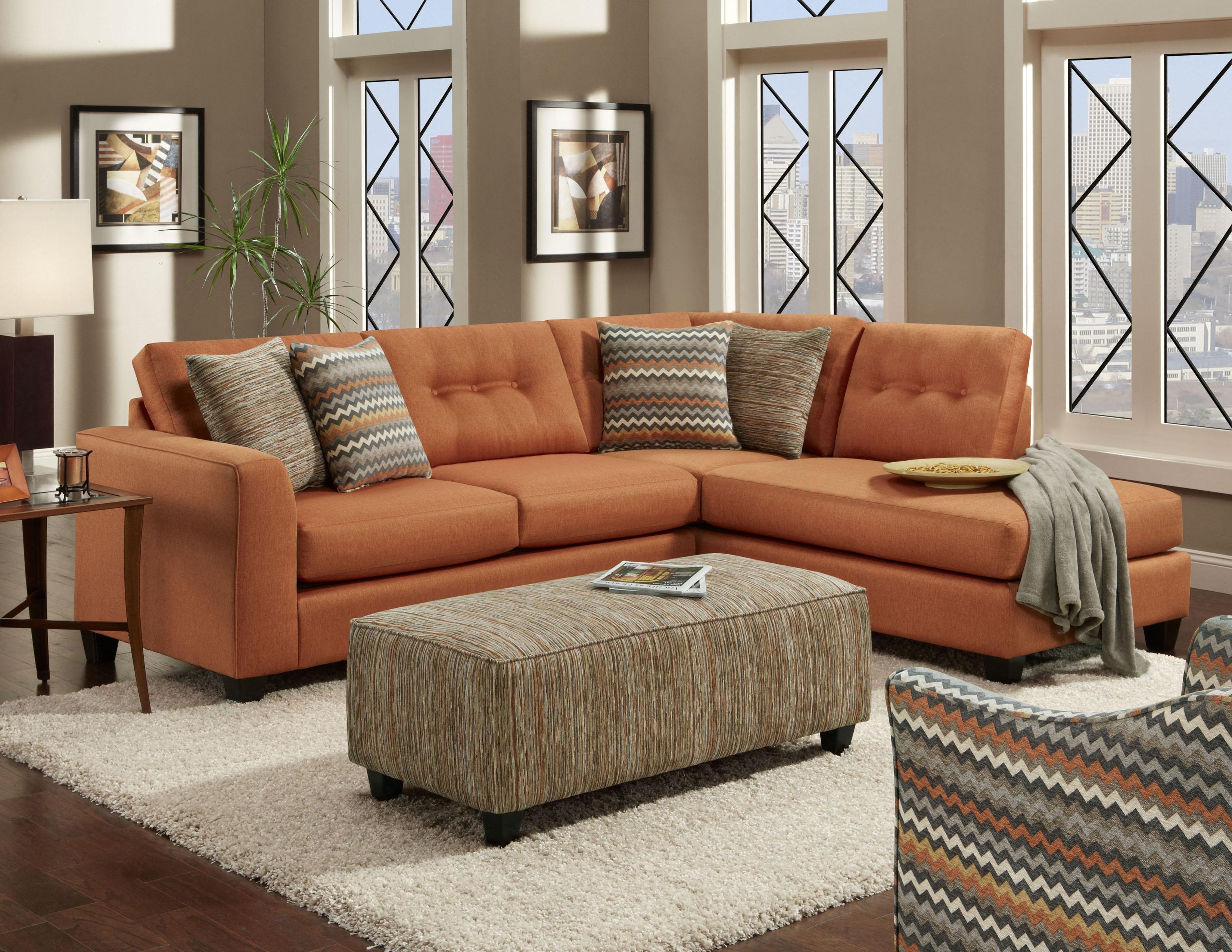 Fandango Flame 1515Fusion Furniture Del Sol Furniture Burnt For Burnt Orange Sofas (Image 5 of 20)